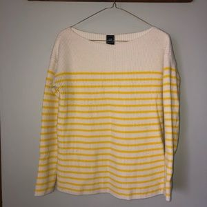 Yellow &white shaker striped knit boatneck sweater